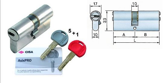 Cilindro europeo cisa asix pro 40 50 5 chiavi 1 - Cilindro europeo cisa 5 chiavi ...